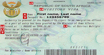 South Africa tourist visa from London