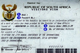 south africa tourist visa from Montreal