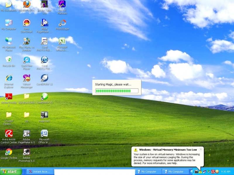 windows XP memory low warning