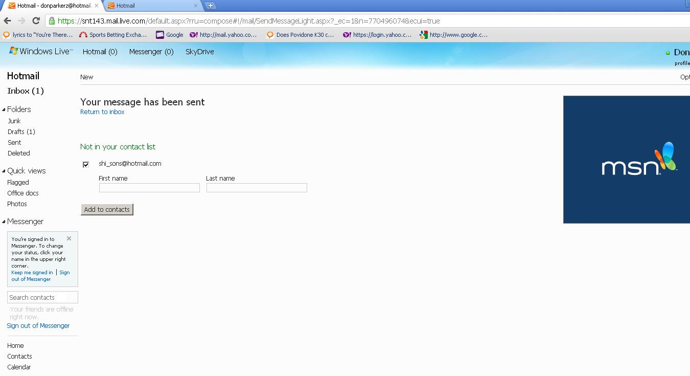 Send Email from Hotmail