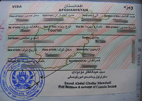 Afghanistan Tourist Visit Visa