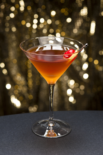 Brain Duster Cocktail with maraschino cherry