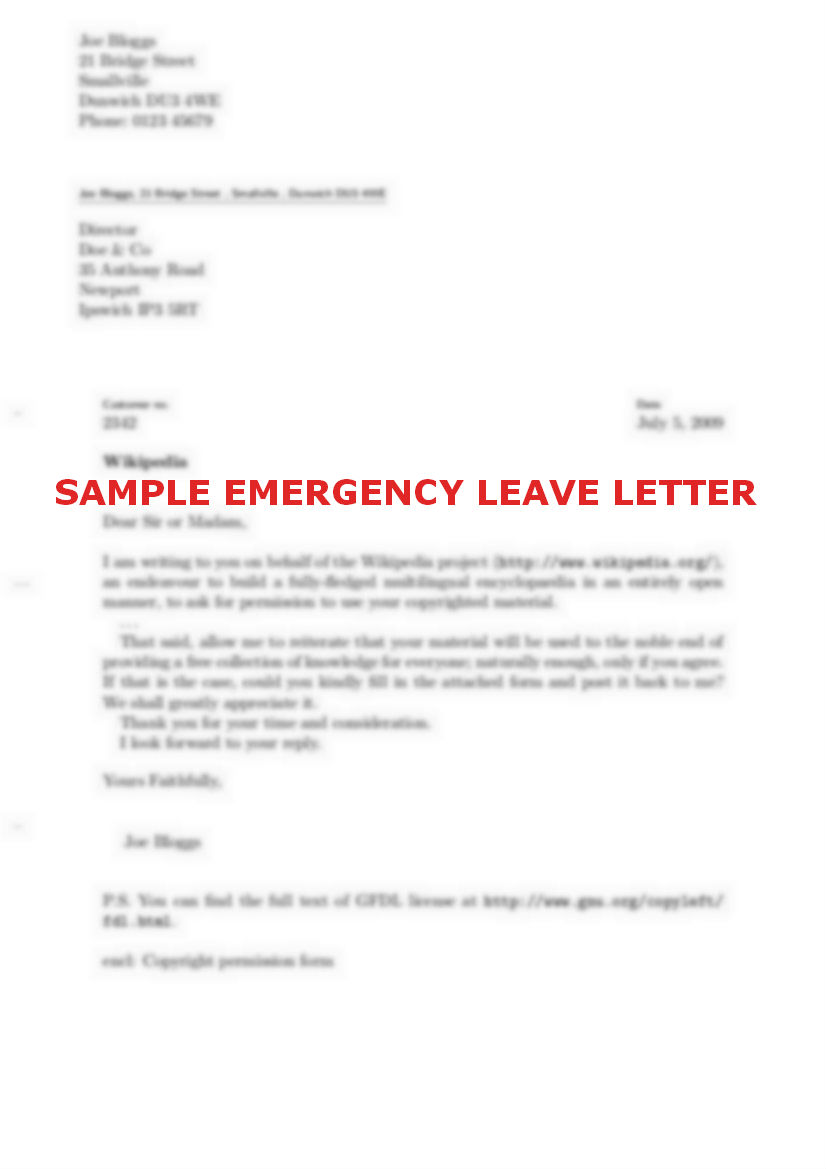 Emergency leave application sample documentshub com vacation leave 2 emergency leave letter altavistaventures Images