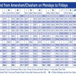 Monday to Friday timetable