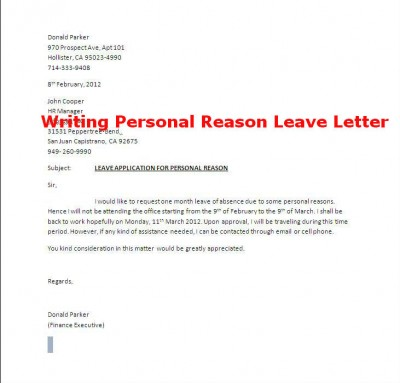 Leave Letter Format And Template Leave Of Absence Letter  Download