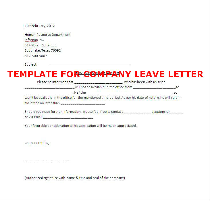 Example Letter Vacation Leave Request Formal Leave Of