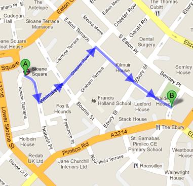 Directions from Sloane Sqaure tube station to Miss Daisy's Nursery