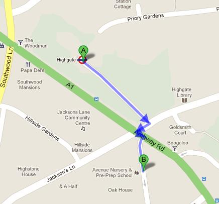 Directions to Avenue Nursery and Pre-Preparatory School from Highgate Tube Station