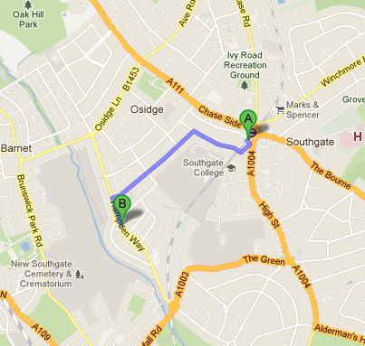 Directions to Hampden Way Nursery School from Southgate Tube Station