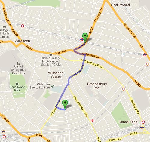 From Willesden tube station to College Green Nursery School