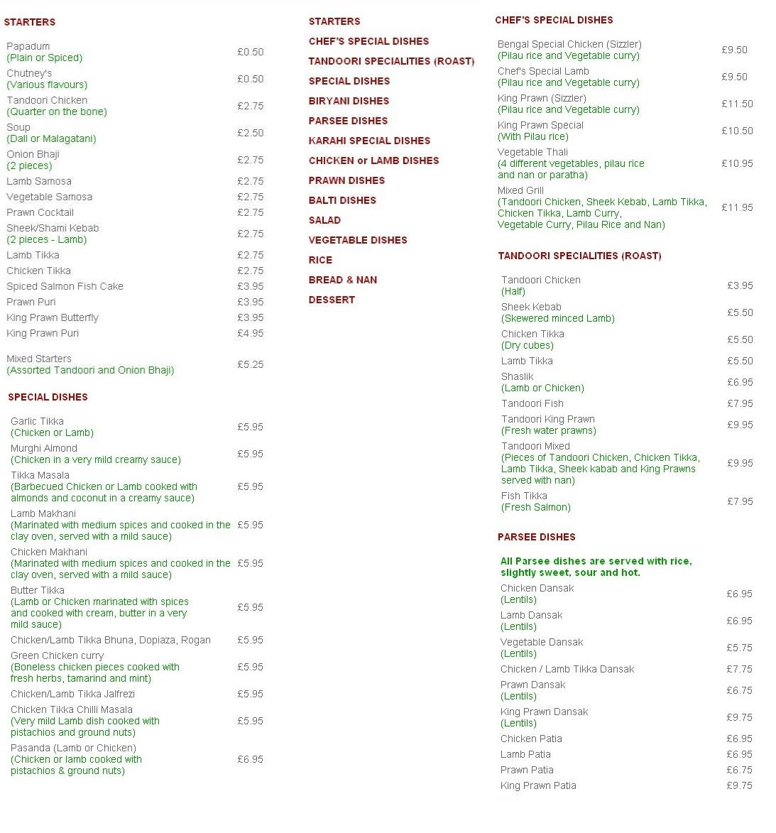 The bengal restaurant in london for Arman bengal cuisine dinas menu