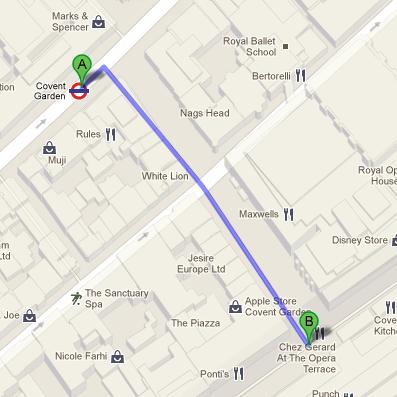 Covent Garden Market  Route
