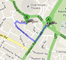 Directions to Ashmole Primary School from Oval Tube Station