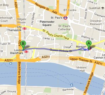 Directions to Berries Restaurant and Bar from Mansion House Tube Station