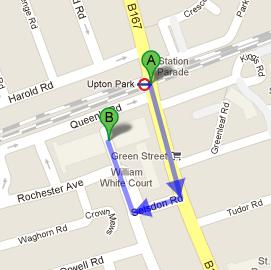 Directions to Kashmir Restaurant from Upton Park Tube Station