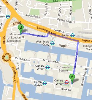 Directions to Museum of London Docklands from Canary Wharf Tube Station