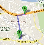Direrctions to Alma Primary School from Bermondsey Tube Station