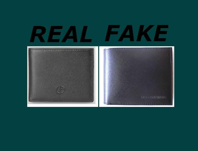 Fake versus real Armani Wallets