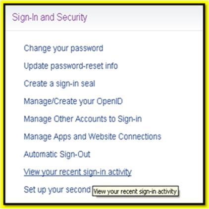 recent Yahoo login activity