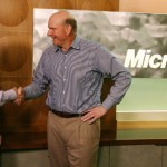 Yammer CEO David Sacks (left) and Microsoft CEO Steve Ballmer shake hands