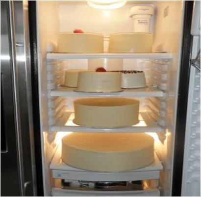 cake in refrigerator