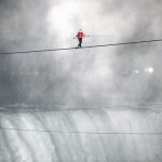 Nik Wallenda makes his historic walk on a wire across Niagara Falls.