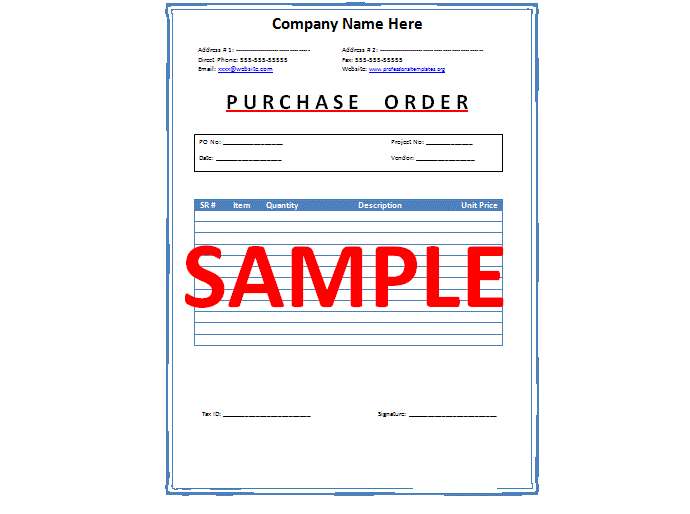sample purchase order letter
