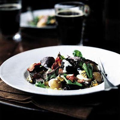 Bacon and Black Pudding Salad with Walnuts and Mozzarella Recipe