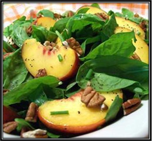 Spinach Peach and Pecan Salad