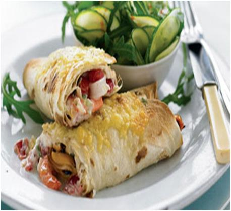 Creamy Seafood Wraps with Courgette and Cucumber Salad Recipe