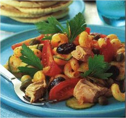 Piquant pasta and tuna salad Recipe