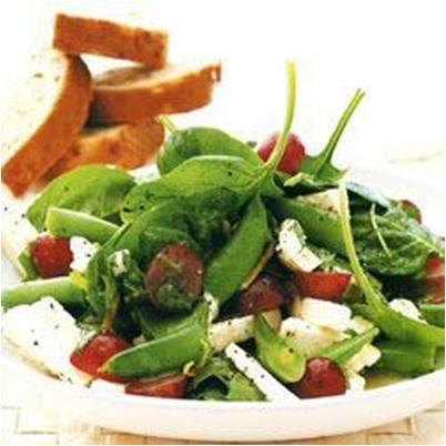 Sugarsnap Salad with Black Grapes and Feta Cheese Recipe