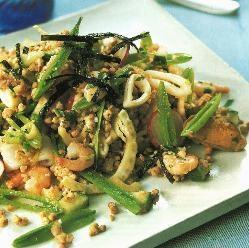 Warm Kasha and Seafood Salad Recipe