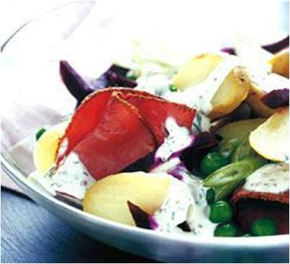 Warm New Potato Salad with Beetroot and Pastrami Recipe
