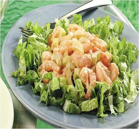 Warm Potted Shrimps on Shredded Lettuce Salad recipe