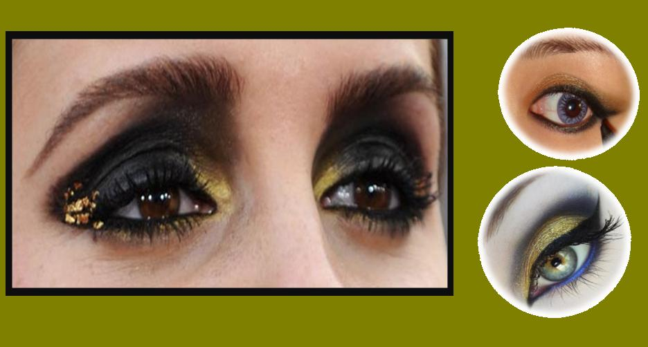 How to Apply Gold and Black Cat Eye Makeup