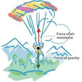 Size of Parachute and Object Falling Rate