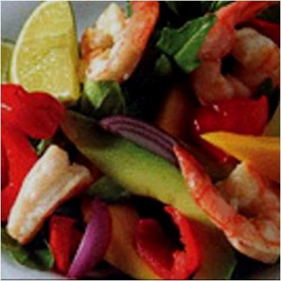 Summer Prawn Salad with Sweet Piquant Peppers, Mango and Avocado Recipe