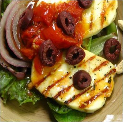 Char Grilled Halloumi with Tomato and Olive Salad Dressing Recipe
