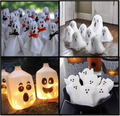 How to make ghost decorations for halloween for Halloween decorations to make at home