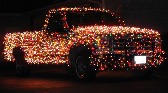 Car with Christmas Lights