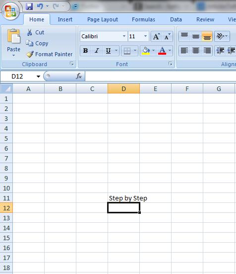 Enter data in Excel 2007