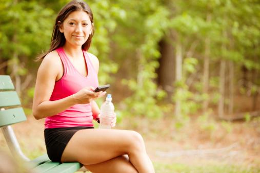 Woman relaxing after a jog