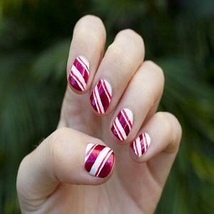 Candy cane nail design