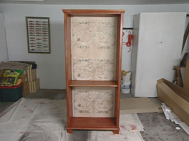 Creating a Map Wallpapered Bookcase