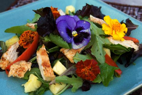 Real Edible Flowers Salad