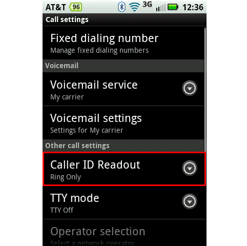 Andriod caller ID