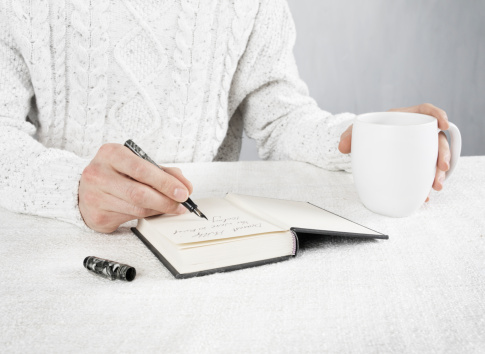A person writing