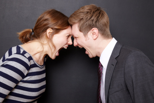girl and guy shouting at each other