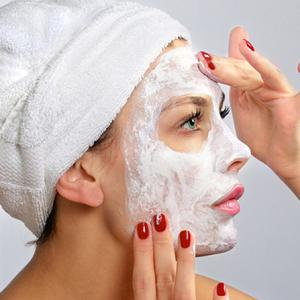 Girl having mask on her face